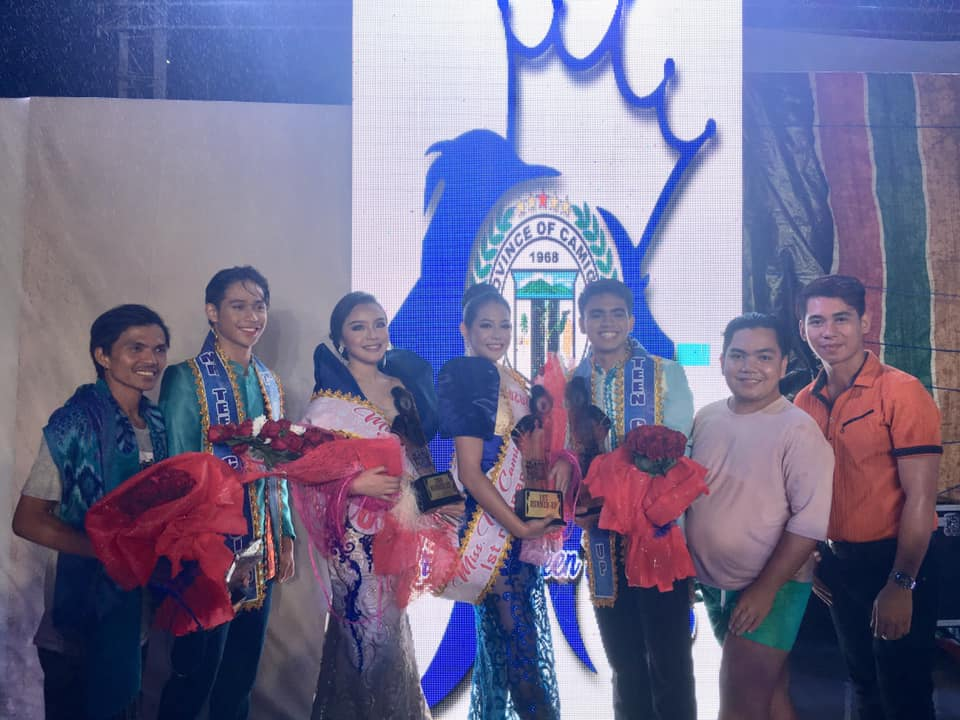 From left: Mr. Roquito Dal (mentor), 2RU Ian Nicole Ocampo, 2RU Alexandra Pauline Delos Reyes, 1RU Cliona Keisha Maghanoy, 1RU Jhiemer Cabeguin, Aldren Susi (mentor) & Adrian David (mentor) posed after the awarding ceremonies of Mr. & Ms. Teen Camiguin 2020
